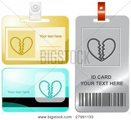 Unrequited love. Vector id cards.