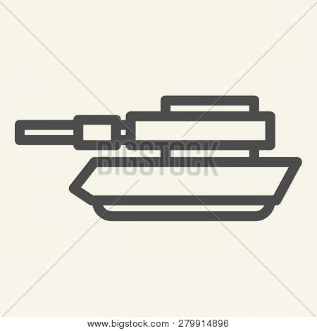 Tank Line Icon. Panzer Vector Illustration Isolated On White. Machine Outline Style Design, Designed