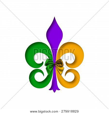 Mardi Gras Logo. Fleur-de-lis Lily Symbol For Masquerade Carnival. American New Orleans Fat Tuesday