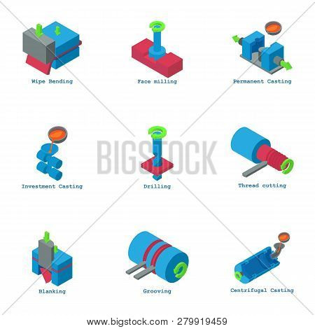 Physical Test Icons Set. Isometric Set Of 9 Physical Test Icons For Web Isolated On White Background