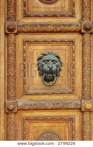 Wooden Door With Lion-Head Door-Knob