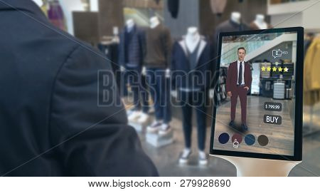 Iot Smart Retail Futuristic Technology Concept, Happy Man Try To Use Smart Display With Virtual Or A