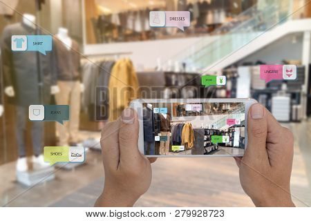 Internet Of Things Marketing Concepts,smart Augmented Reality,customer Hold The Mobile Phone To See
