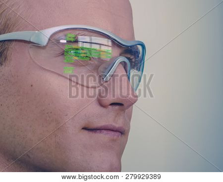 Smart Glasses Futuristic Technology Concept, Man Wear Smart Glasses With Augmented Reality To Managi