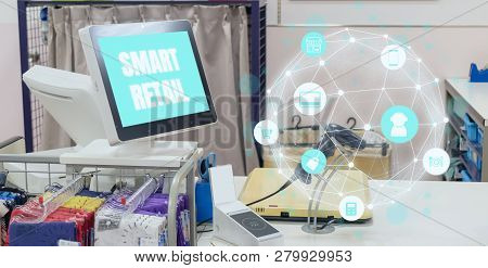 Smart Retail In Futuristic Technology Concept The Icon Show The Blockchain Meaning Including Store,