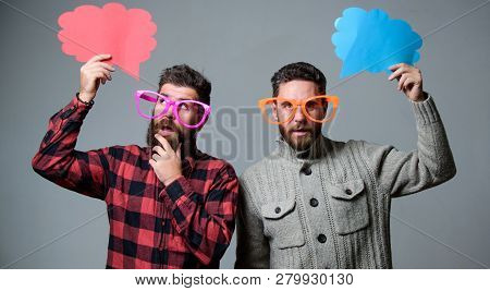 Share Opinion Speech Bubble Copy Space. Comic And Humor Sense. Men With Beard And Mustache Mature Hi