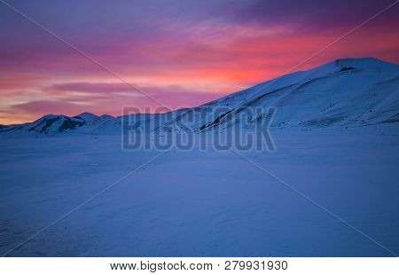 Romantic And Wonderful Dusk In The Monti Sibillini National Park