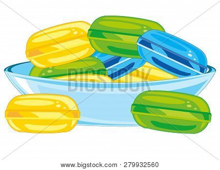 Vector illustration of the sweetmeats lollipop colour in saucer poster