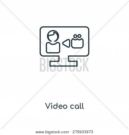 Video Call Icon In Trendy Design Style. Video Call Icon Isolated On White Background. Video Call Vec