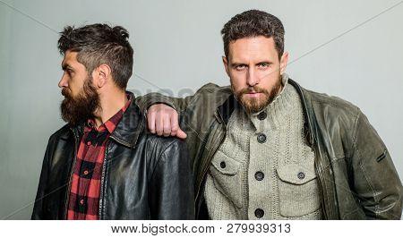 Leadership Concept. True Friendship Of Mature Friends. Male Friendship. Brutal Bearded Men Wear Leat