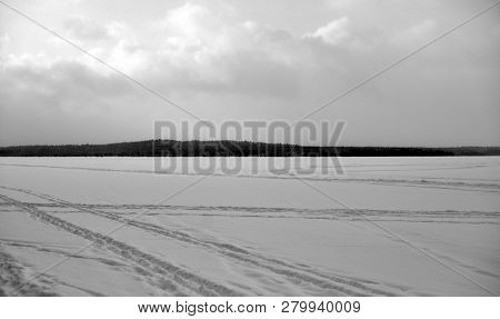 Frozen Lake In The Winter In Karelian Isthmus, Russia. Black And White.