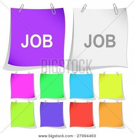 Job. Vector note papers. poster