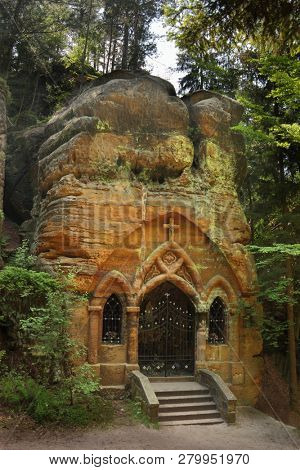 Rock chapel Modlivy Dul near Sloup in Czech Republic