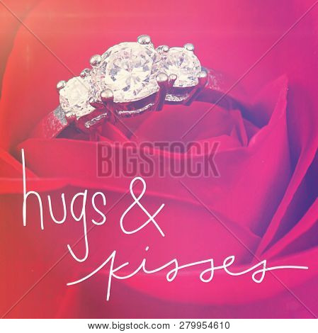 Quote - hugs & kisses with red rose and diamond ring