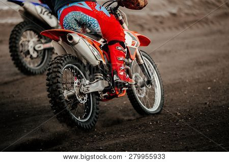 Wheels Motorcycle Riders Enduro Riding On Earth Trail