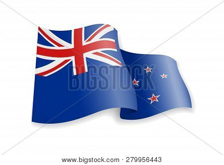 New Zealand Flag In The Wind. Flag On White. Vector Illustration