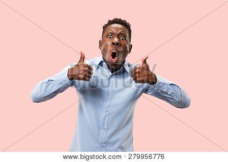 I Am Ok. Happy Afro Businessman, Sign Ok, Smiling, Isolated On Trendy Pink Studio Background. Beauti