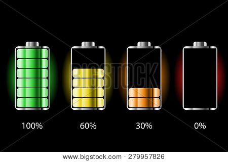 Battery Charge Status With Lighting. Battery Indicators With Low And High Energy Levels. Full Charge