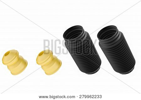 3d Rendering. Passenger Car Dust Cap And Buffer Mounting, New Auto Parts, Spare Parts. Spare Parts F