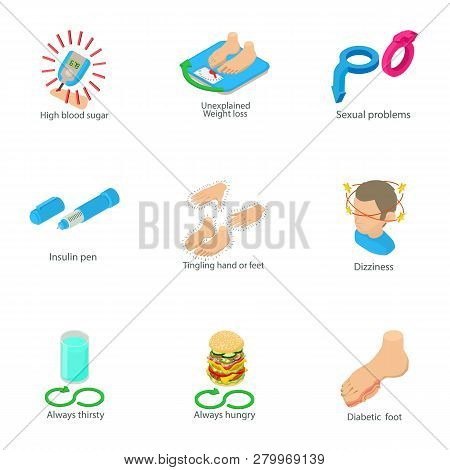 Ailment Of Body Icons Set. Isometric Set Of 9 Ailment Of Body Icons For Web Isolated On White Backgr