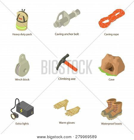 Output icons set. Isometric set of 9 output icons for web isolated on white background poster