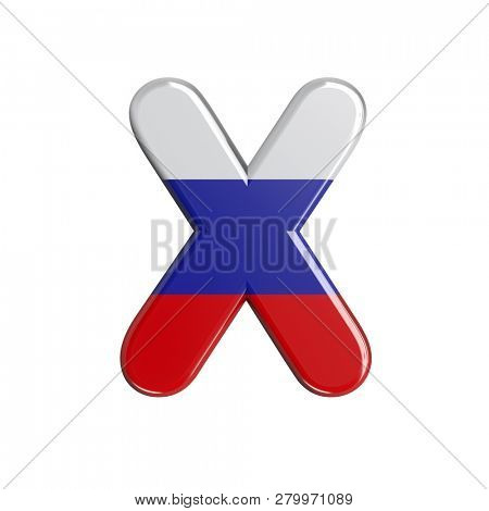 3d Upper-case character X covered in Russia flag texture on white background. This font collection is well-suited for various projects related but not limited to Russia, politics, economics...
