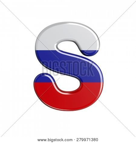 3d Uppercase font S covered in Russia texture isolated on white background. This font collection is well-suited for various projects related but not limited to Russia, politics, economics...