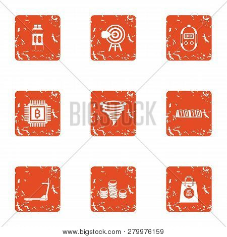 Sport Account Icons Set. Grunge Set Of 9 Sport Account Icons For Web Isolated On White Background