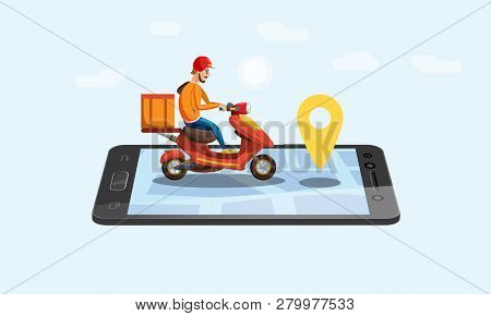 Concept Online Delivery Service, Tracking Online Tracker, Landing Page. Tiny People Moped With A Del