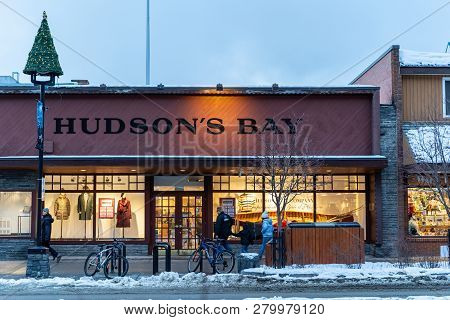 Banff, Alberta Canada - January 19, 2019: Hudsons Bay, A Famous Canadian Department Store Chain, Ext