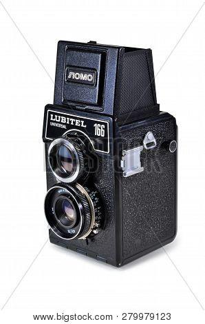Donetsk, Ukraine - June 6, 2014: Retro Camera Lubitel-166 Universal - Soviet Medium Format Twin-lens