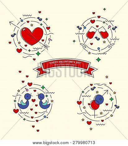 Happy Valentins Day. Set Of Colorful Line Illustrations. Pierced Heart, Love Doves, Stemware, Gender