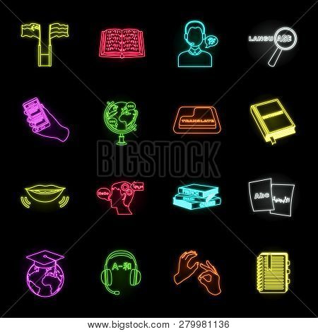 Translator and linguist neon icons in set collection for design. Interpreter vector symbol stock web illustration. poster