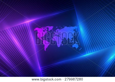 Technology Concept. Future Cyber Technology Web Services For Business And Internet Project. Geometri