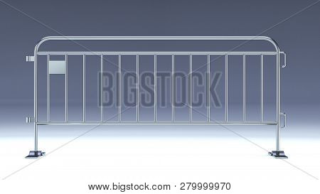 Crowd Barrier, Fan Divider, Temporary Metal Security Barrier Mockup, 3d Render Isolated