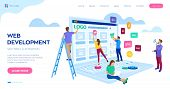 Web development. Project team of engineers for website create. Webpage building. UI UX design. Characters on a concept. Web agency. Template for programmer or designer. Vector illustration. poster