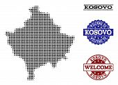 Welcome collage of halftone map of Kosovo and rubber seals. Halftone map of Kosovo constructed with black round items. Vector greeting seals with scratched rubber texture in blue and red colors. poster