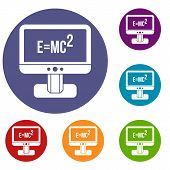 Monitor with Einstein formula icons set in flat circle reb, blue and green color for web poster