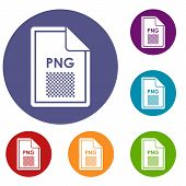 File PNG icons set in flat circle reb, blue and green color for web poster