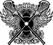Lacrosse Sticks with Ornate Wing Borders Vector Graphic poster