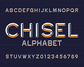 Chisel alphabet font. Type letters and numbers. Chiseled block vector typescript for your design. poster