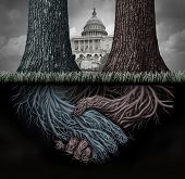 USA secret politics and deep state clandestine government deal manipulating the laws or system of politics as a covert plan to secretly influence the leadership and conspiracy theory with 3D illustration elements. poster