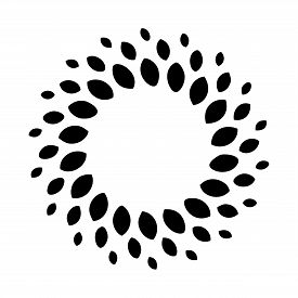 Black Vintage Abstract Trees Circle Pattern Frame On White Background, Border Circle Pattern Frame,