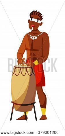 Tribal Native Man Playing Drum Music Isolated On White. Ritual Song Rhythm Sound. African Male Chara