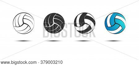 Set Of Volleyball Balls, Empty And Filled Contours. Vector Illustration For An Icon, Sticker, Sticke