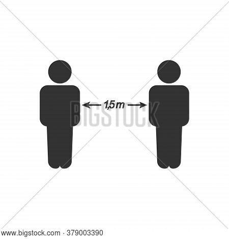Vector Icon, Sign Of Social Distance. Flat Design Isolated On White Background