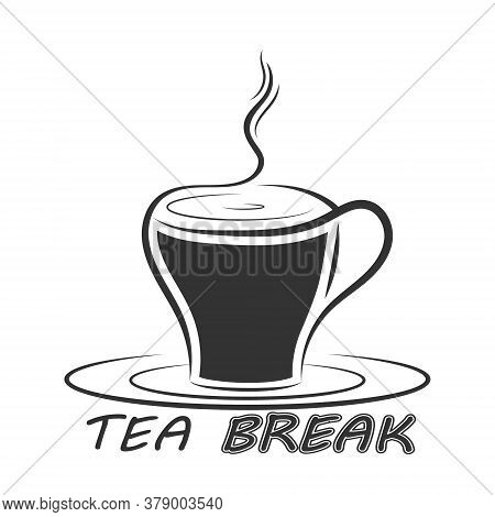 Cup Of Hot Tea With The Inscription Tea Break. Simple Icon Isolated On A White Background