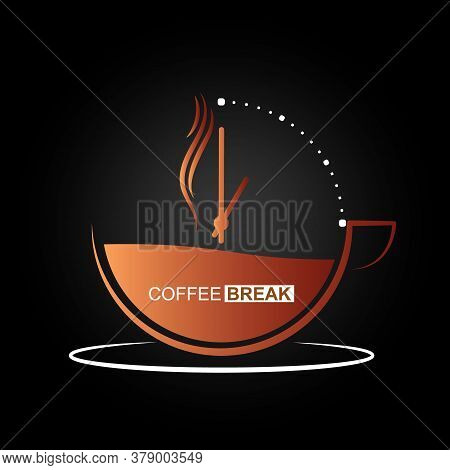 Cup Of Hot Coffee With A Dial And A Coffee Break. Vector Illustration For Websites And Apps