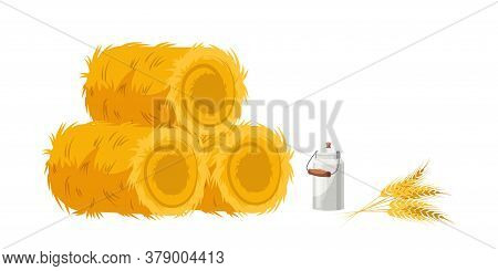 Farming Agricultural Set With Dry Hay Bale Straw Haystack, Yellow Ripe Spikelets Bunch, Closed Metal