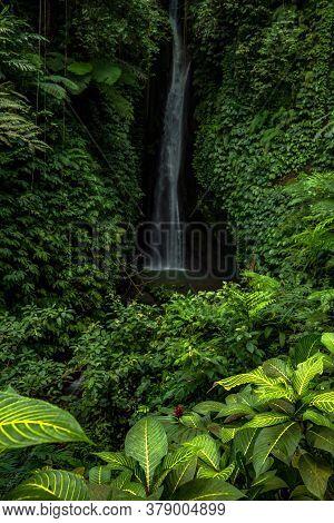 Waterfall Landscape. Beautiful Hidden Leke Leke Waterfall In Bali. Tropical Scenery. Waterfall In Tr
